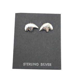 Native American Bear Earrings Studs Navajo Silver